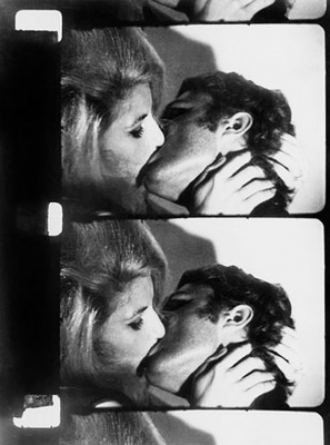 2-1/2 frames of Andy Warhol's 16mm film Kiss, photographed in november and december 1963