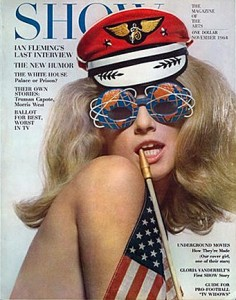 Baby Jane Holzer Screen Test: photo of Jane Holzer wearing a pilot's cap and funny glasses and holding an American Flag which drapes over her bare shoulder and back