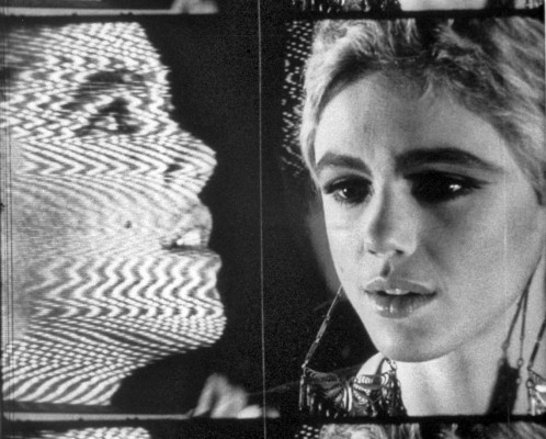 Teatime on Mars: Frame from Andy Warhol's Outer and Inner Space featuring a filmed Edie Sedgwick in front of a video Edie Sedgwick on a TV monitor