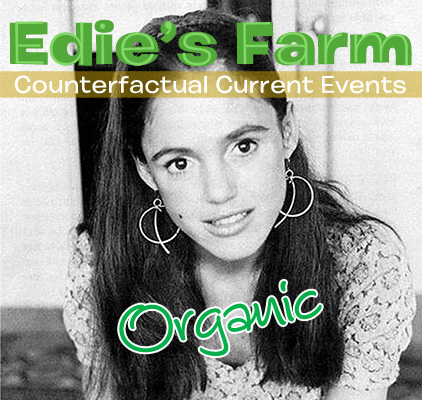 "Black-and-white photograph of Edie Sedgwick in long, dark hair with overlaid typography ""Edie's Farm: Counterfactual Current Events"""