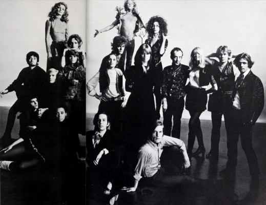 Black-and-white photograph of Andy Warhol and 18 of the cast & crew from his films of the mid-1960's