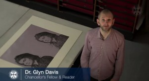 Coursera Certificate Warhol: video screen cap of Warhol MOOC instructor Glyn Davis