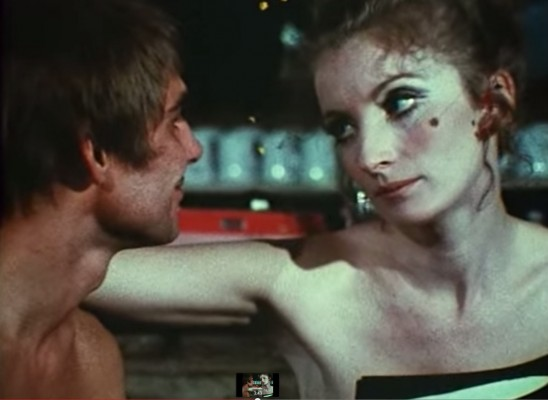 color film still of Viva in Andy Warhol's Nude Restaurant