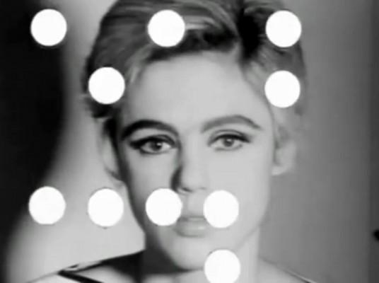 "Edie Sedgwick Screen Test: still frame from Edie Sedgwick's ""Screen Test"" at Andy Warhol's Factory."