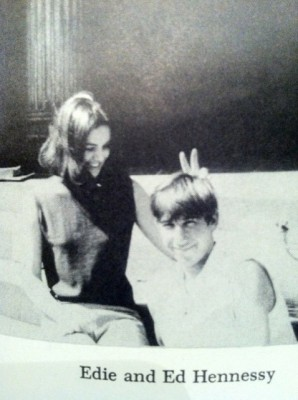 black-and-white photograph of Edie Sedgwick and Ed Hennessey circa 1963 or 1964.