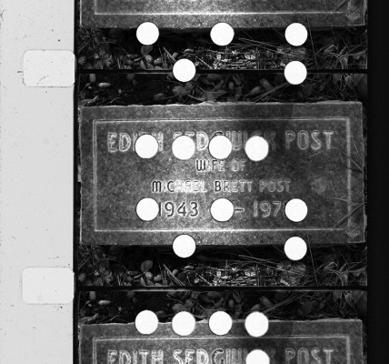 Screen Test #6: Black-and-white image of 3, 16mm film frames showing Edie Sedgwick's  tombstone at Oak Hills Cemetery in Ballard, CA, near Solvang and Santa Barbara
