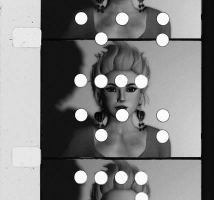 Edie Sedgwick Screen Test #5: 3 frames of 16mm film showing a close up of Edie Sedgwick in Screen Test #5, 2014