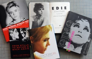 Edie Sedgwick Books: Books about or including Edie Sedgwick: Edie: An American Biography, Edie: Factory Girl, Edie: Girl on Fire,  From Stills to Motion and Back Again, Andy Warhol Screen Tests