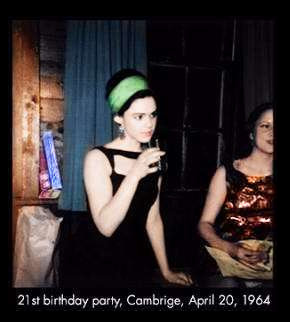 Edie Sedgwick 21st Birthday: Color photo of Edie Sedgwick in a black dress and green hair band
