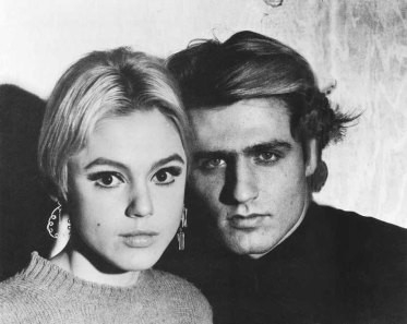 black-and-white photograph of Edie Sedgwick and Gerard Malanga