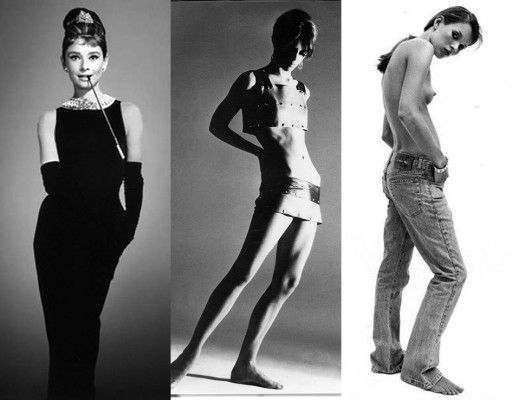 Black and white triptych: left panel: Audrey Hepburn wearing LBD by Hubert de Givenchy, center panel: Edie Sedgwick wearing top and microskirt by Betsey Johnson, right panel, Kate Moss wearing jeans by Calvin Klein