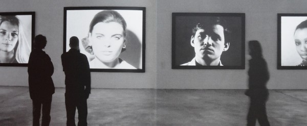 black-and-white photo, installation view of Andy Warhol: Motion Pictures, KW ICA, Berlin, 2004