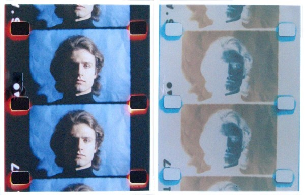 two strips of 16mm color film: one a color negative with 3 frames of Gerard Malanga, and the other a positive workprint of the same frames