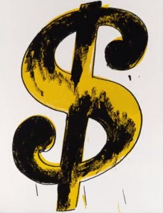 Andy Warhol and Money: photo of Andy Warhol's painting of a dollar sign: black and yellow imagery