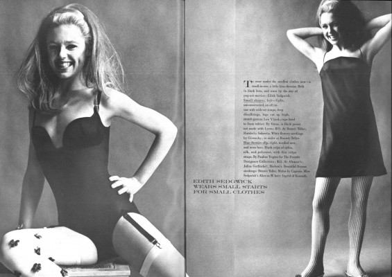 "Edie Sedgwick Vogue: spread from Vogue Magazine, 1966, showing 2 photos of Edie Sedgwick and in between them a text block talks about ""Small Shapers"" to wear under small clothes now."